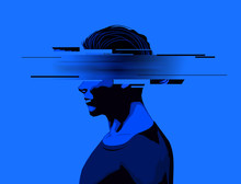 A Young Man With A Partially Obscure Face, Glitch Effect. Mental Wellbeing, Mens Issues And Rights Concept.Vector Illustration
