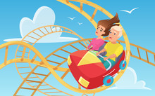 Man And Woman On Roller Coaster Flat Vector Illustration. Ccartoon Characters Taking Amusement Ride. Friends Spending Time Together. Scared Couple On Russian Mountains In Amusement Park