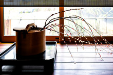 Hanamochi Ikebana Cherry Blossom Flowers Vase In Japan, A Traditional New Year's Flower Decoration Made With Rice