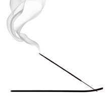 Burning Incense Stick On White...