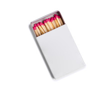 Box Of Matches On White Background Isolation, Top View