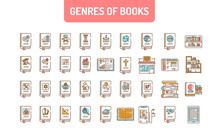 Genres Of Books Color Line Icons Set. Collection Of All Genres In Literature. Pictogram For Web Page, Mobile App, Promo. UI UX GUI Design Element. Editable Stroke.