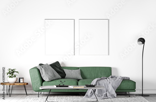 mock up poster frame modern interior sofa in living room, empty wall, 3D render - 309036612