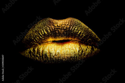 Photo Gold Paint from the lips