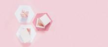 Festive Pink Flat Lay. Set Of ...