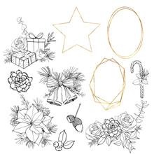 Vector Christmas Symbols Linea...
