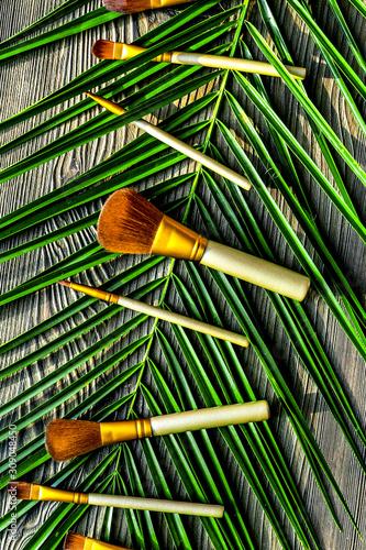 Obraz na plátně  make up set with decorative cosmetics on table background top view mockup