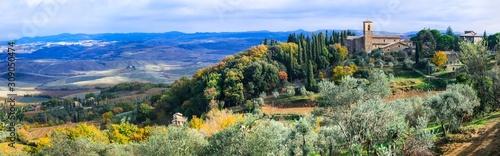 Foto auf AluDibond Olivgrun Wonderful scenic landscape of Tuscany. Montalcino - famous wine region in Italy