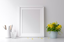 Mockup Frame With Yellow Flowers