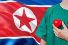 North Korea Veterinary Clinic Concept. Veterinarian Is Holding Plastic Heart In Green Uniform On National Flag Background. Animial Love Theme.