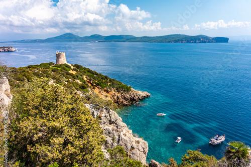 Photo View on Torre del Bollo in Regional Natural Park Porto Conte (Sardinia, Italy, p