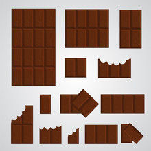Chocolate Bar Vector Set. Delicious Brown Dessert In Rectangular Blocks An Chunks For Posters, Banners, Package Decoration. Tasty Sugary Food In Dark Chocolate Color With Bitten An Whole Pieces.