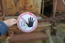 Schild Betreten Verboten Warnung Halt Stop