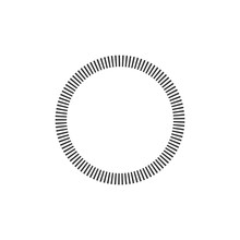 Geometric Circle Element Made Of Radiating Rectangles. Abstract Circle Shape. Stock Vector Illustration Isolated On White Background.