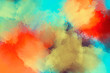 Artistic painting. Colorful paint splashes. Iridescent splatters. Modern abstract art.