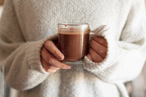 Woman hands holding hot chocolate Canvas Print