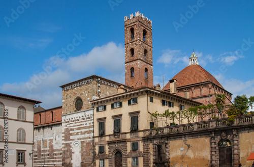 Micheletti Palace and the bell tower of Chiesa dei Santi Giovanni e Reparata, Piazza San Martino, Lucca, Italy.