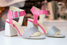 Elegant Women Shoes Close Up Product Photography. Fashion Leather Women Wear. Blured Background, Isolated Product. Profesional Lightning.