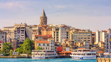 Summer City Landscape - View Of The District Of Beyoglu And Historical Galata (Karakoy) Quarter, Istanbul, In Turkey