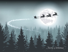 Santa Flying In A Sleigh On The Background Of The Moon Vector Illustration