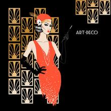 Woman In Art Deco Style.