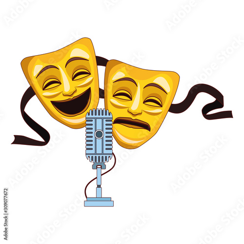 Obraz na plátně comedy and tragedy theater masks icon