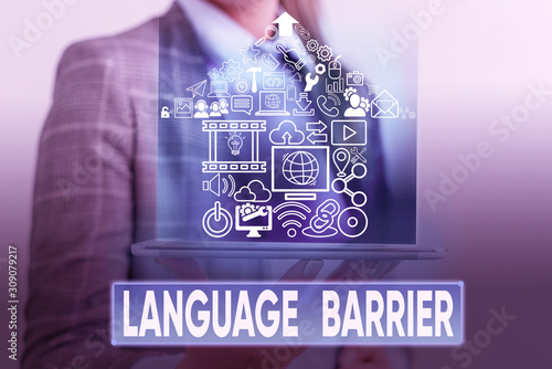 Text sign showing Language Barrier Canvas Print