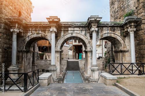 Obraz na plátne Resort city Antalya turkey travel famous landmark - arch walkway architecture vi