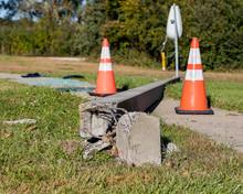 Concrete Streetlight Pole Brok...