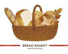 パンのかご水彩