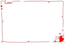 "Hand Drawing. Red Line Border With Word ""Love"" And Many Hearts On White Background. Cute Frame. Can Be Use For Any Card, Web, Label, Banner Or Brochure. Copy Space For Any Text Design. Valentine's Day"
