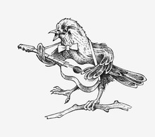 Sparrow Bird Plays The Guitar And Sings In A Vintage Style. Engraved Hand Drawn Retro Sketch For Banner Or T-shirt.