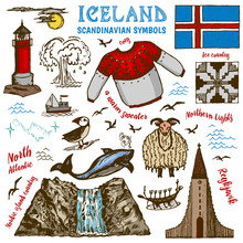 Set Of Iceland Symbols In Vintage Style. Traditional National Signs On White Background. Scandinavian Culture. Hand Drawn Outline Doodle Sketch. Sweater, Mountains, Flag, Whale And Lighthouse.