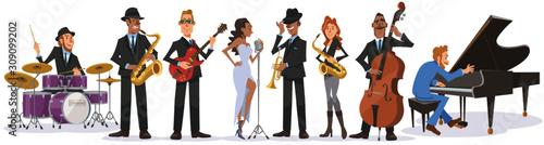白い背景に立つジャズミュージシャンのコレクション。ステージで演奏するトランペット、ピアノ、ベース、アルトサックス、テナーサックス、ギター、ドラム、ヴォーカル。フ Wallpaper Mural