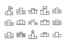 Stroke Line Icons Set Of Podium.