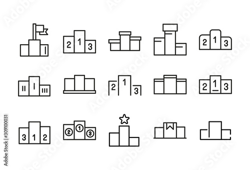 Fotomural Stroke line icons set of podium.
