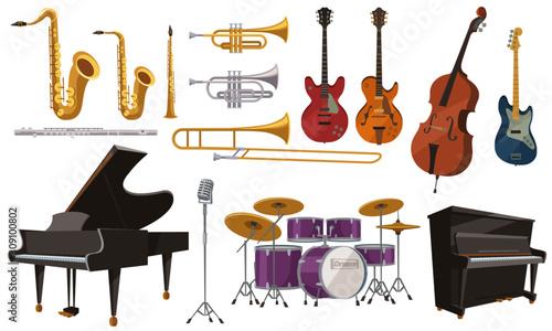 ジャズ演奏に使われる楽器いろいろ。フラットなカートゥーンスタイルのベクターイラストレーション。