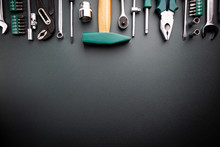 Set Of Tools Over Black Background, Top View With Space For Text