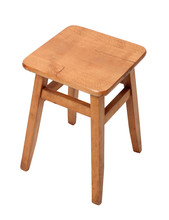 Wooden Stool. Isolated With Ha...