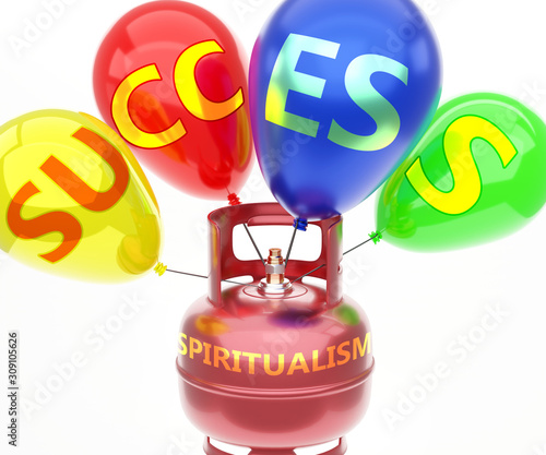 Fotografie, Obraz  Spiritualism and success - pictured as word Spiritualism on a fuel tank and ball