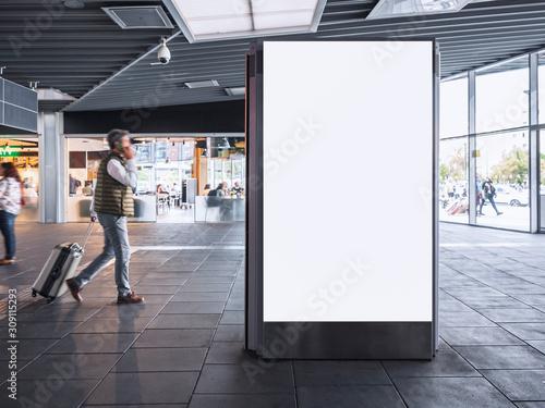 Fototapeta Mock up Banner light box Media Advertising in Train station with People traveling obraz