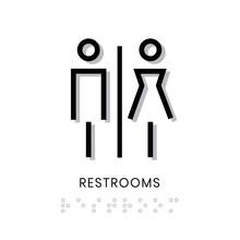 Toilet Sign Restrooms Sign Door Blind People Door Stiker Restroom Men Woman Vector