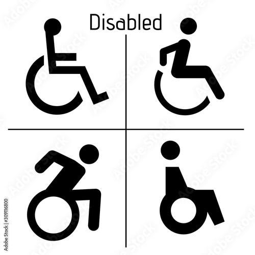 Obraz Toilet Disabled Sign Restrooms  Door Stiker Restroom Men Woman Vector - fototapety do salonu