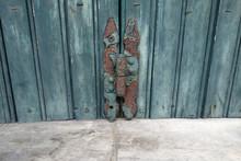 A Rusted Hinge In A Door In Corfu