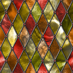 Fototapeta Witraże sakralne Stained glass seamless texture, colored glass with rhombus pattern for window, 3d illustration