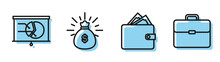 Set Line Wallet With Stacks Paper Money Cash, Board With Graph Chart, Money Bag And Briefcase Icon. Vector