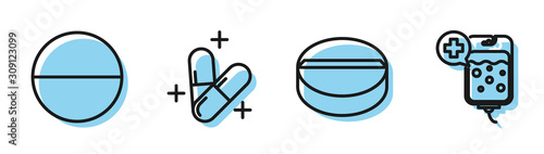 Set line Medicine pill or tablet, Medicine pill or tablet, Medicine pill or tablet and IV bag icon Obraz na płótnie