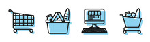Set Line Shopping Building On Screen Computer, Shopping Cart, Shopping Basket And Food And Shopping Cart And Food Icon. Vector