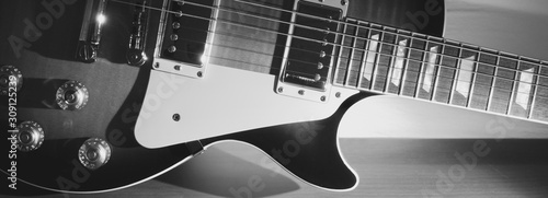 vintage electric guitar closeup with copy space - 309125239