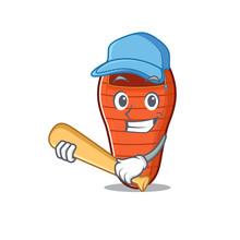 Funny Smiling Sleeping Bag Cartoon Mascot Playing Baseball